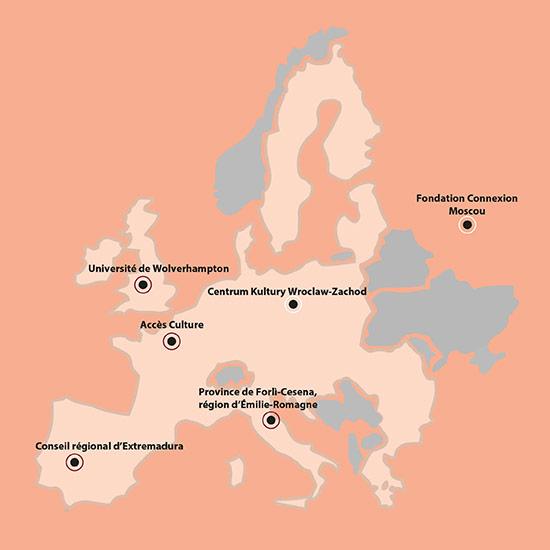 carte d'europe avec les différents partenariats entre Accès Culture et d'autres pays (Université de Wolverhampton, Conseil régional d'Extremadura, Province de Forli-Cesena, Centre culturel de Wroclaw-Zachod, Fondation Connexion à Moscou