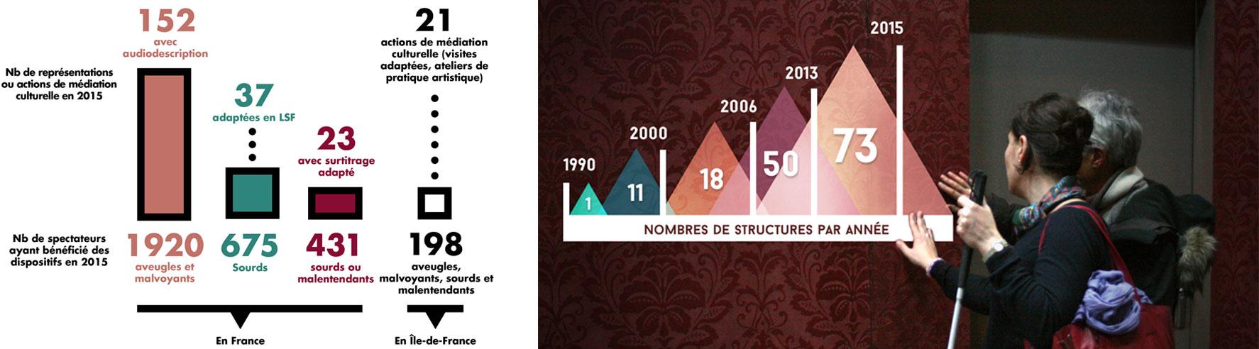 En 2015, l'association Accès Culture a mis en place 152 représentations avec audiodescription en France pour 1920 personnes aveugles et malvoyantes, 37 représentations adaptées en LSF pour 675 personnes Sourds et 23 représentations avec du surtitrage adapté. L'association a également mis en place 21 actions de médiation culturelle (visites adaptées, ateliers de pratique artistique) pour 198 personnes aveugles, malvoyants, sourds et malentendants En 1990, 1 théâtre faisait partie du réseau Accès Culture. En 2000, on comptait 11 structures culturelles faisant partie du réseau Accès Culture ; en 2006, 18 ; en 2013, 50 et en 2015, 73.